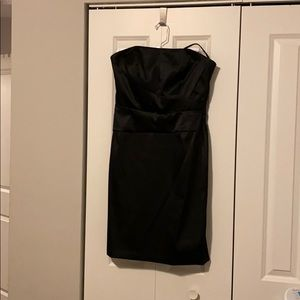 WHBM Black satin strapless cocktail dress size 10